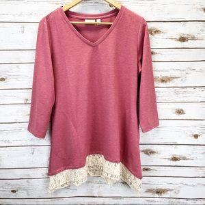 LOGO Lounge Tunic Lace Trim Sweater Sz M ::FA10